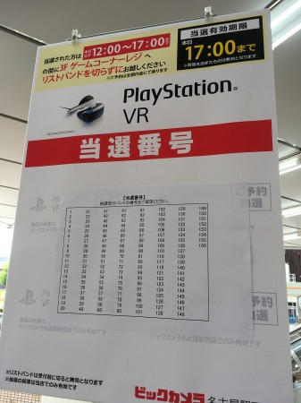 PlayStation VR 抽選結果