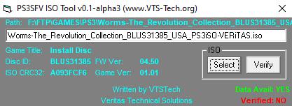 PS3SFV ISO Verification Tool