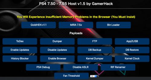 PS4 7.50 - 7.55 Host