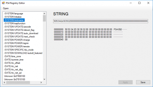 PS4 Registry Editor