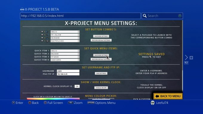 X-Project Menu Settings