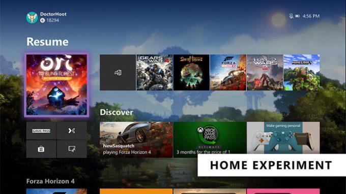 Xbox One dashboard