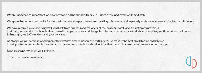 yuzu Online Support Removed